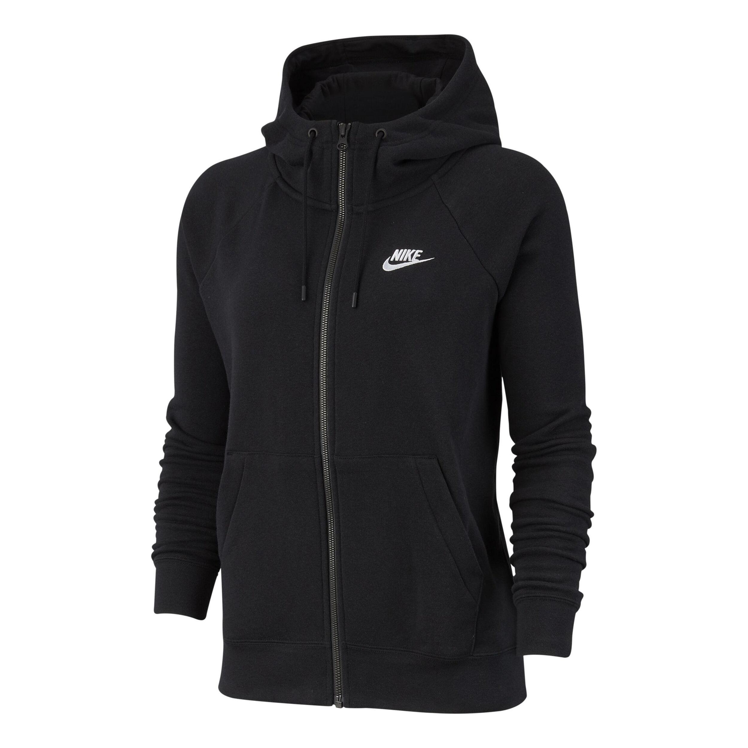 Nike Sportswear Essential Fleece Full Zip Sweatjakke Damer Sort, Hvid