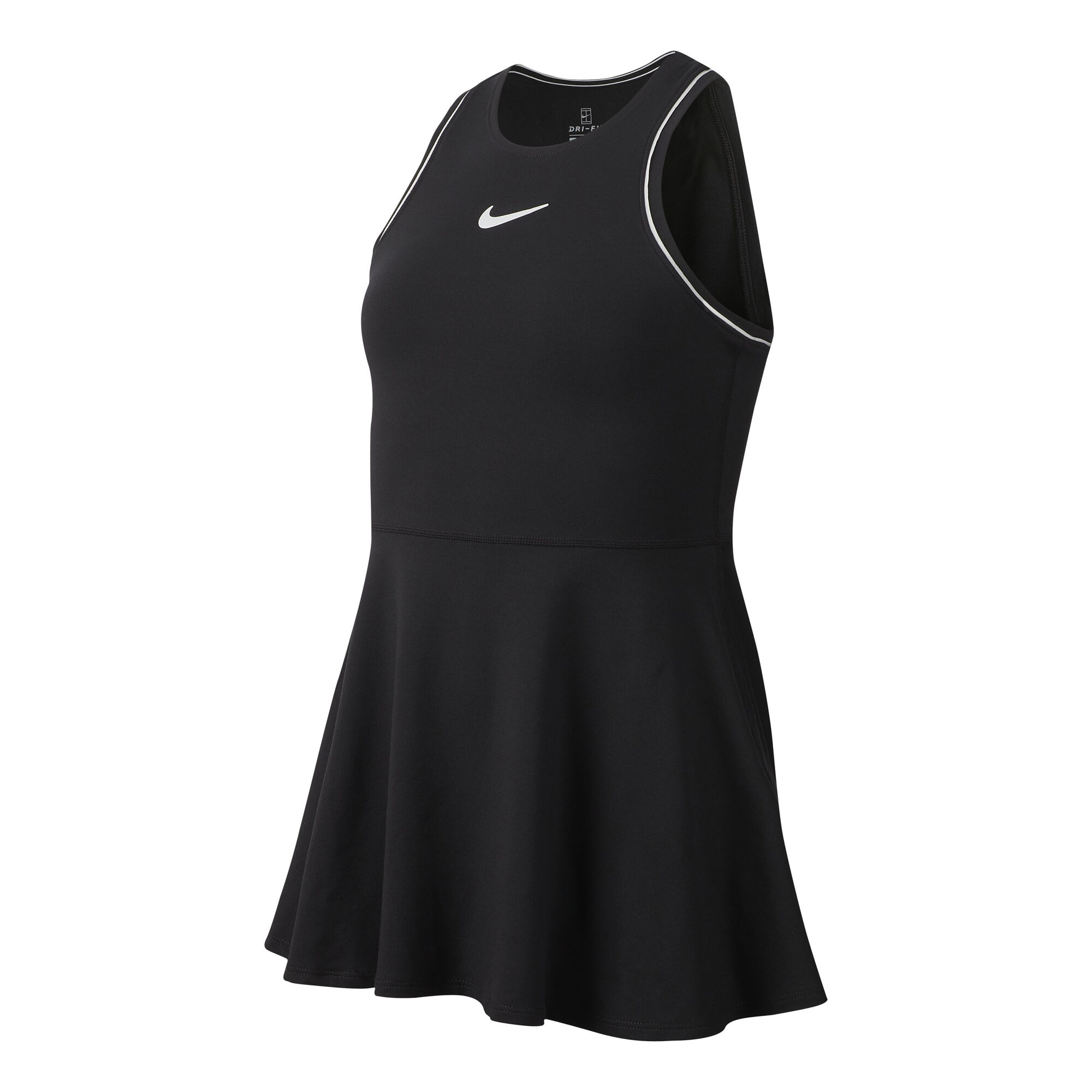 53bc6e4c4d7 Nike Court Dry Kjole Pige - Sort, Hvid køb online   Tennis-Point