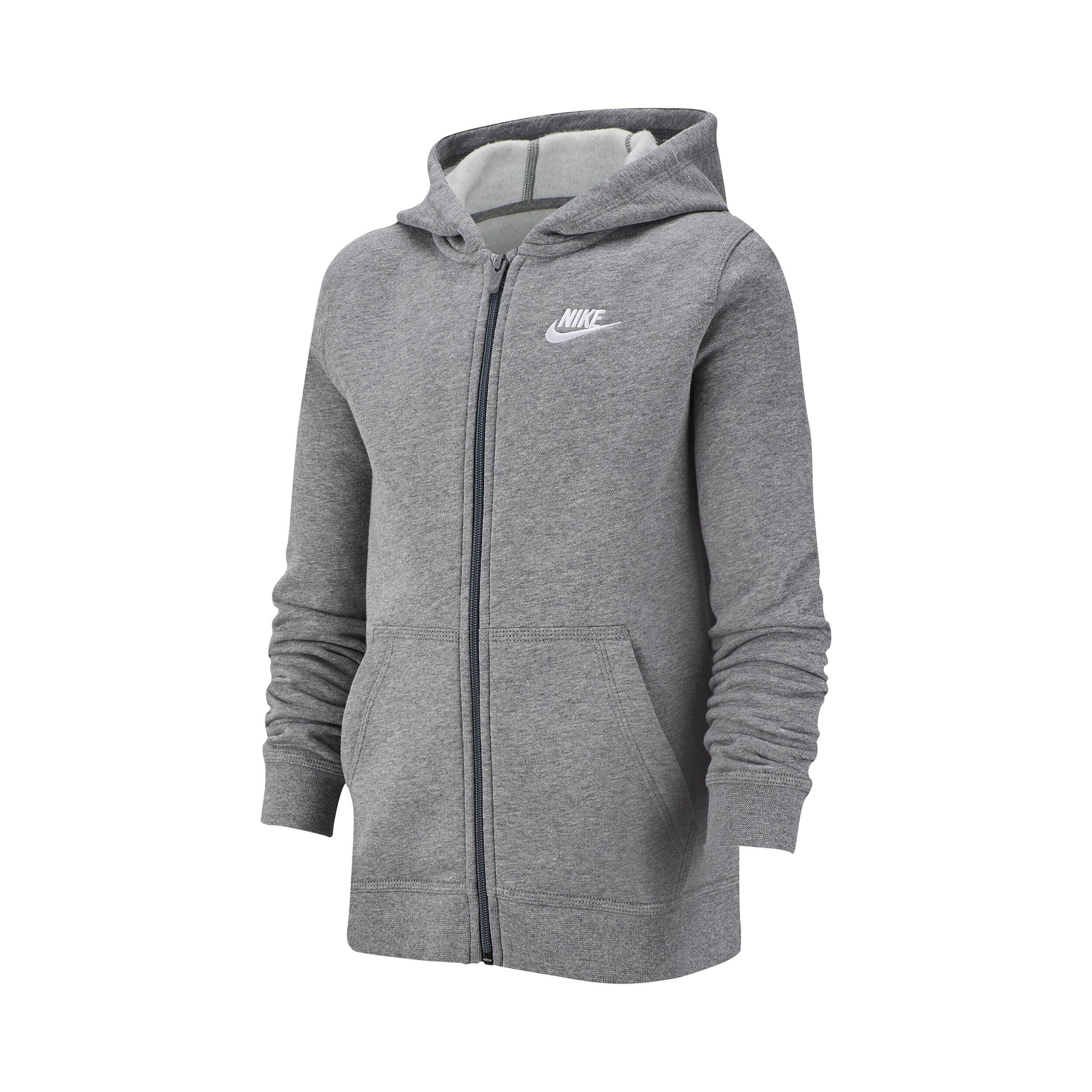 Nike Sportswear Full Zip Sweatjakke Drenge Lysegrå, Hvid
