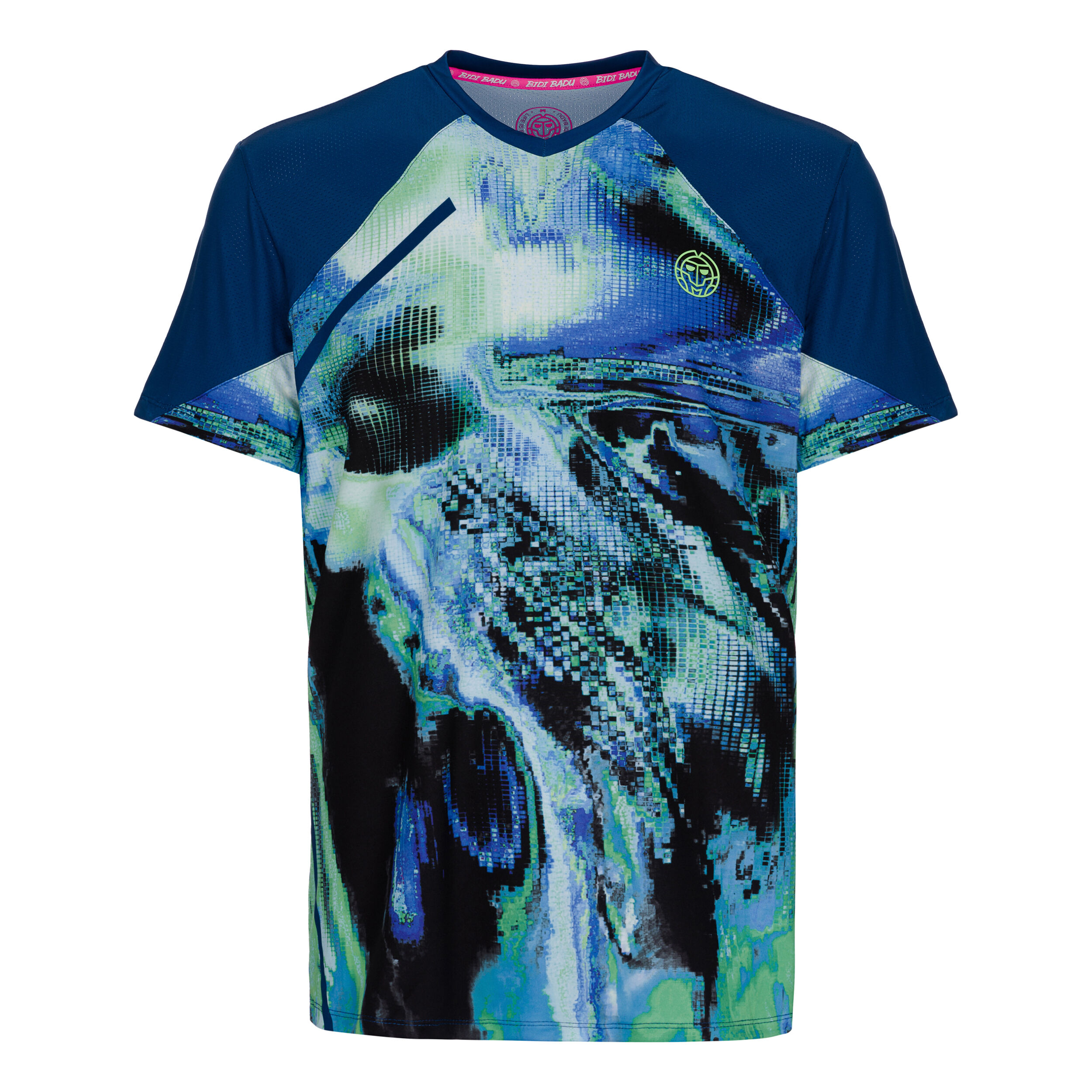 BIDI BADU Tai Tech V Neck T shirt Herrer Mørkeblå, Lysegrøn