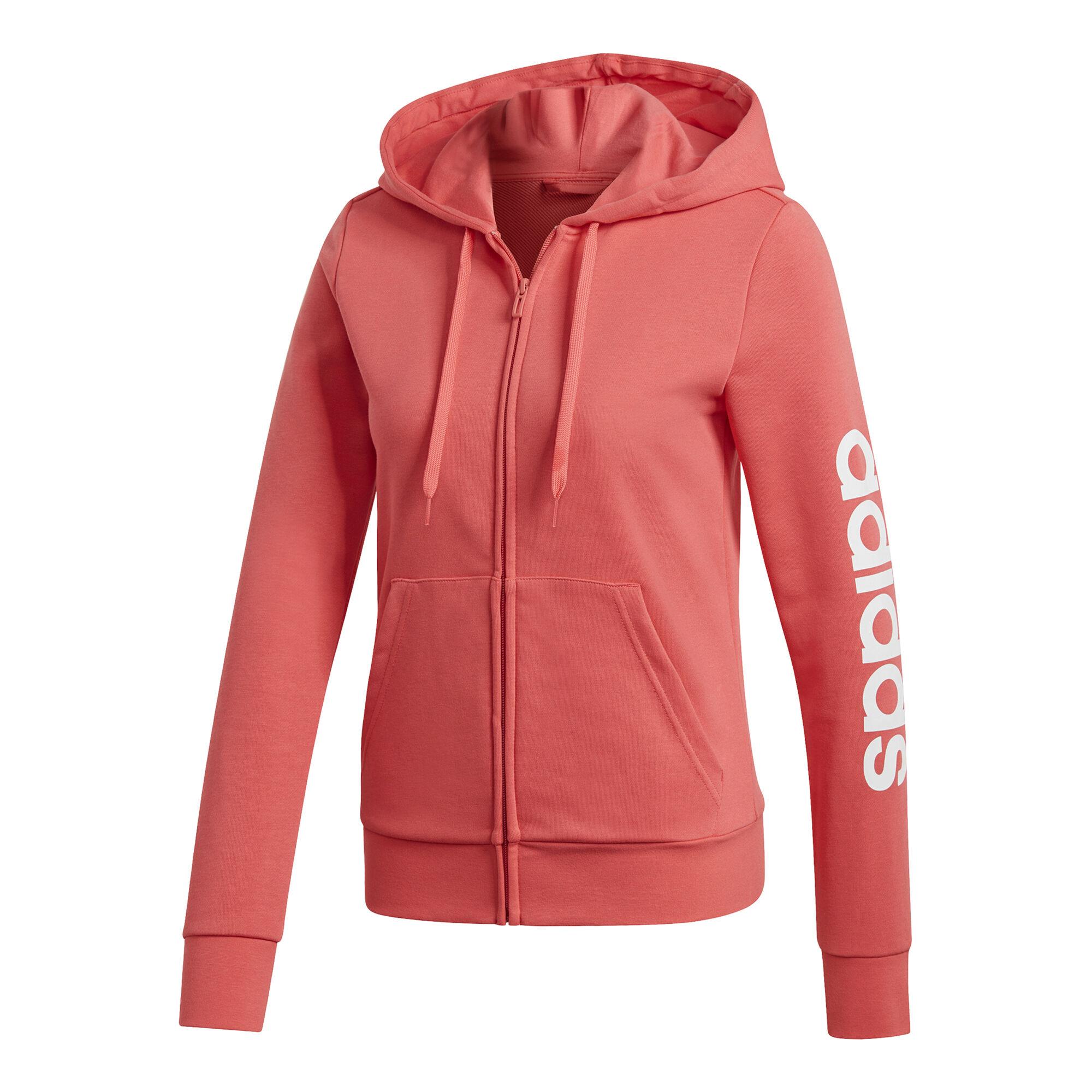 29b9745783e adidas Essentials Linear Full-Zip Hættetrøje Damer - Koral, Hvid køb ...