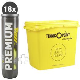 18x Premium Tennisball 4er plus Balleimer