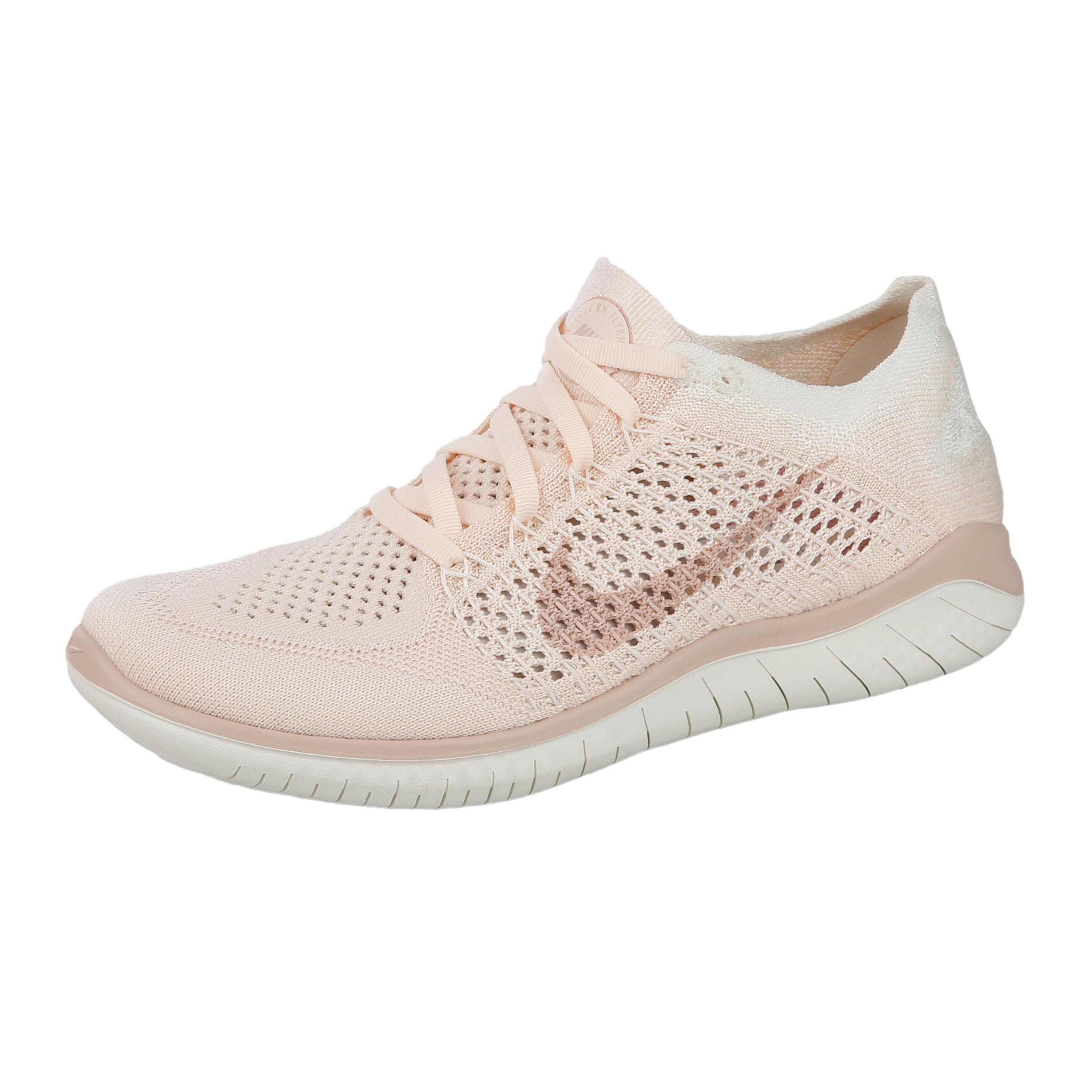 Nike Free Run Flyknit 2018 Fitnesssko Damer Creme, Rosa