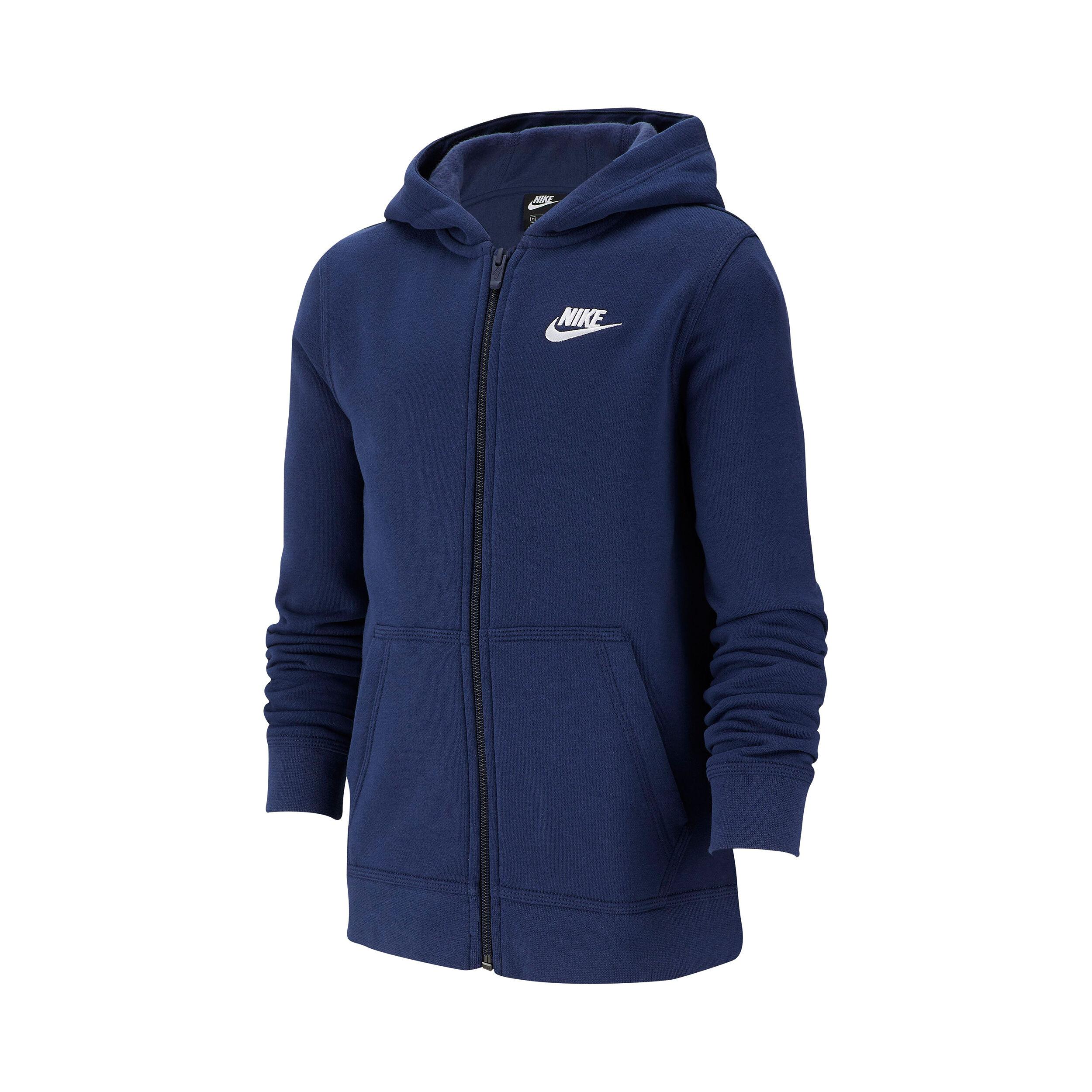 Nike Sportswear Full Zip Sweatjakke Drenge Mørkeblå, Hvid